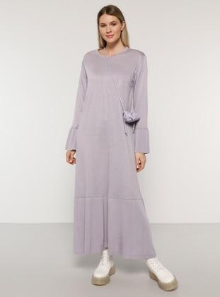 Lilac - Acrylic - - Crew neck - Plus Size Knit Dresses - Alia
