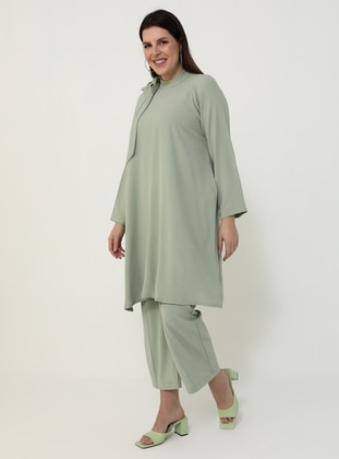 Sea-green - Green - Crew neck - Unlined - Plus Size Suit