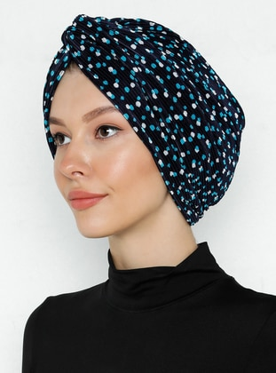 White - Turquoise - Printed - Instant Scarf