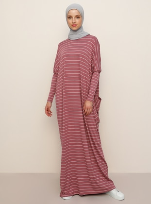 Pink - Stripe - Crew neck - Unlined - Viscose - Dress