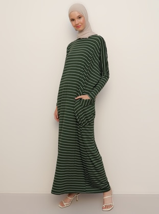 Khaki - Stripe - Crew neck - Unlined - Viscose - Dress