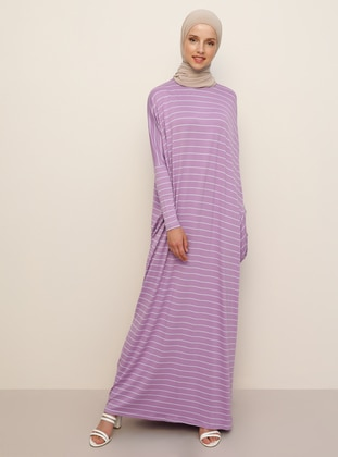 Lilac - Stripe - Crew neck - Unlined - Viscose - Dress