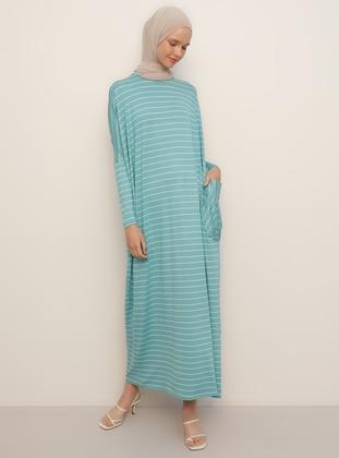 Green - Stripe - Crew neck - Unlined - Viscose - Dress