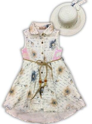 Multi - Crew neck -  - Unlined - White - Girls` Dress