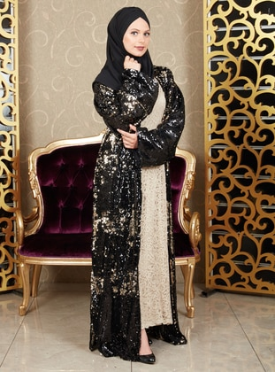 Gold - Black - Evening Abaya - İz Otantik