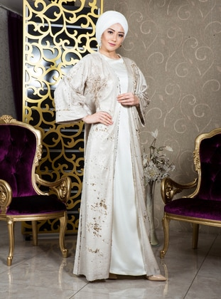 Gold - Beige - Evening Abaya - İz Otantik