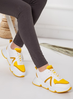 White - Yellow - Sport - Sports Shoes