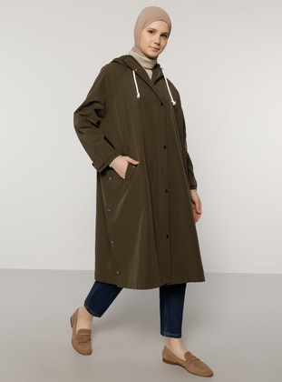 Khaki - Unlined - Viscose - Trench Coat