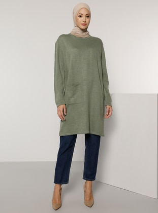 Green Almond - Crew neck - Unlined - Knit Tunics