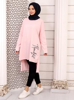 Pink - Crew neck -  - Tunic