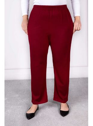 Maroon - Plus Size Pants