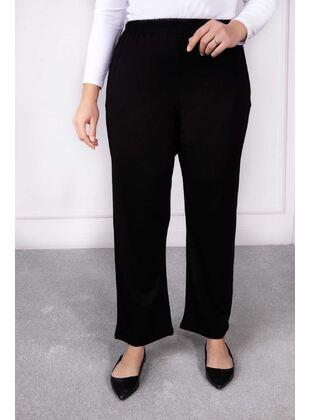 Black - Plus Size Pants - BEHREM