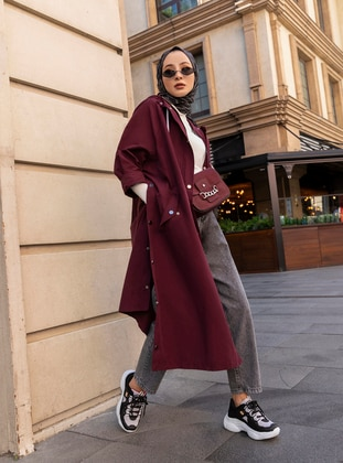 Plum - Unlined - Viscose - Trench Coat
