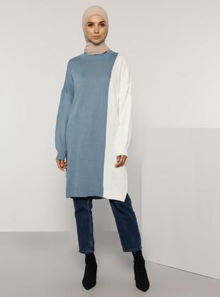 Ecru - Indigo - Crew neck - Unlined - Knit Tunics