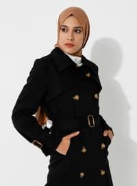 Black - Fully Lined - V neck Collar - - Trench Coat