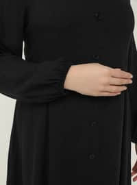 Black - Unlined - Polo neck - Plus Size Dress