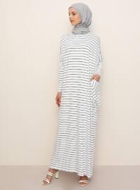 Ecru - Stripe - Crew neck - Unlined - Viscose - Dress
