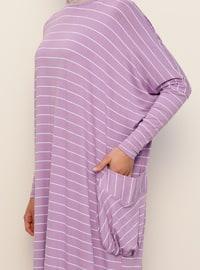 Lilac - Stripe - Crew neck - Unlined - Viscose - Dress