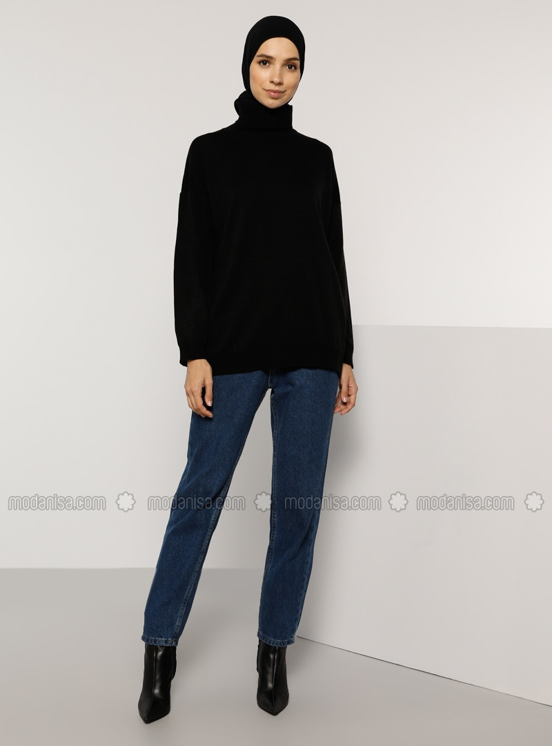 Black - Polo neck - Acrylic -  - Jumper