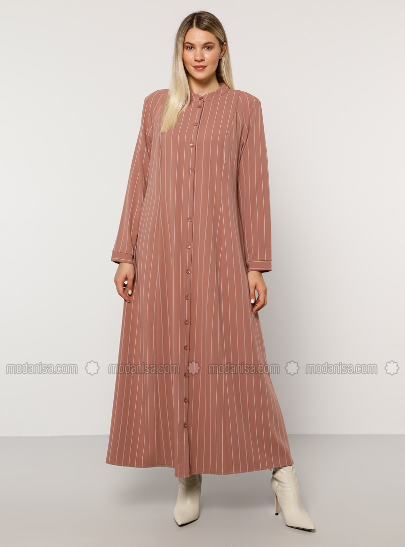 Dusty Rose - Stone - Stripe - Unlined - Button Collar - Plus Size Dress