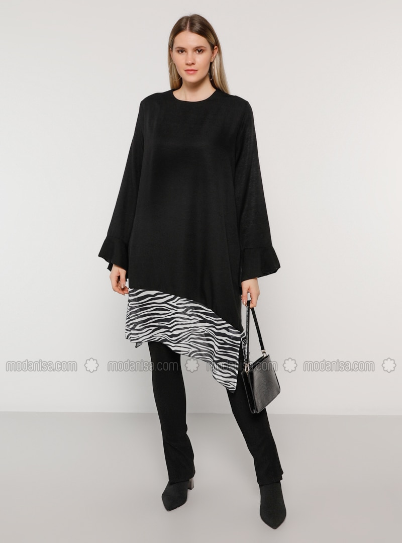 Black - Crew neck - Viscose - Plus Size Tunic