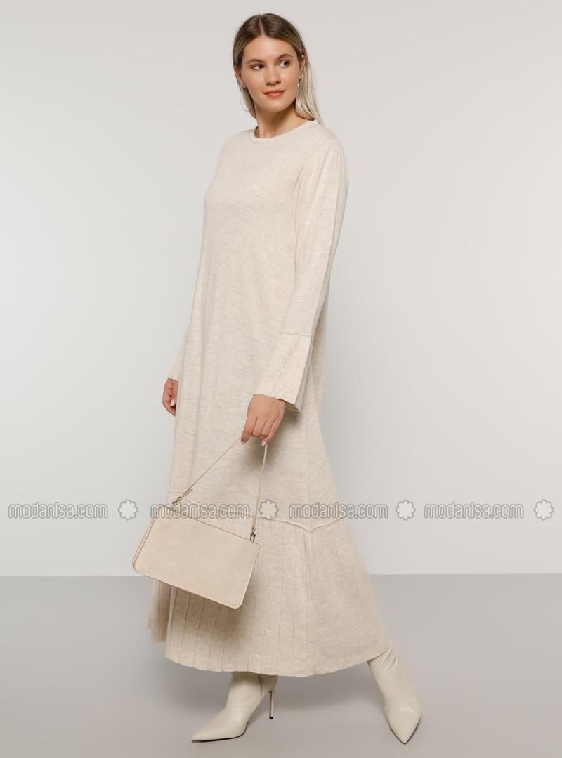 Stone - Acrylic - - Crew neck - Plus Size Knit Dresses