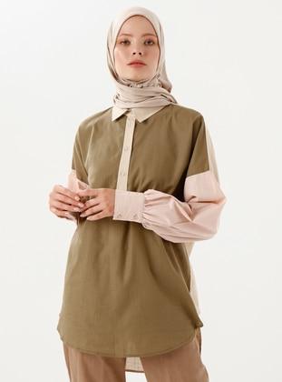 Khaki - Point Collar -  - Tunic