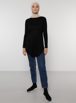 Natural Fabric Tunic - Black