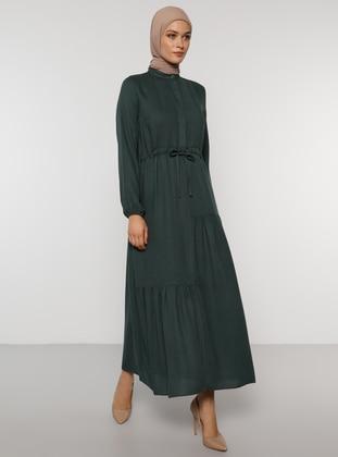 Green - Polo neck - Unlined - Acrylic - Dress