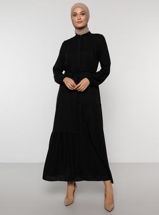 Black - Polo neck - Unlined - Acrylic - Dress