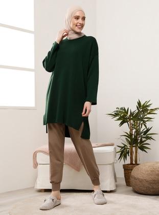 Green - Crew neck - Knit Tunics