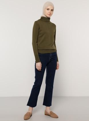 Khaki - Polo neck - Acrylic - - Jumper