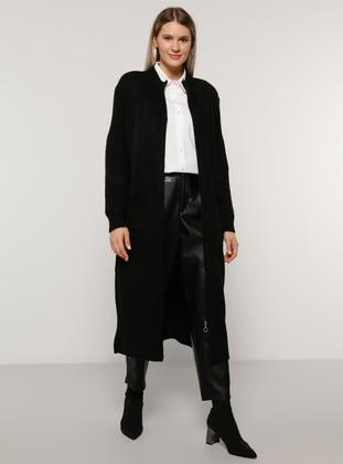 Black - Crew neck - Acrylic -  - Plus Size Cardigan - Alia