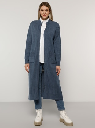 Indigo - Crew neck - Acrylic -  - Plus Size Cardigan - Alia