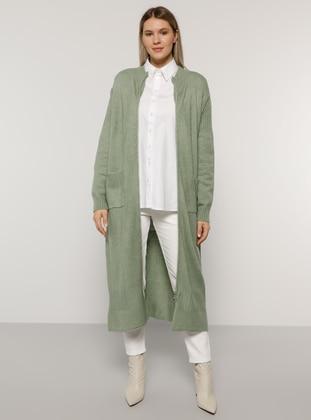Sea-green - Crew neck - Acrylic -  - Plus Size Cardigan