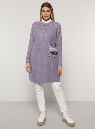 Lilac - Crew neck - Acrylic -  - Plus Size Jumper
