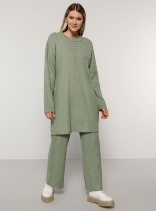 Sea-green - Crew neck - Unlined - Acrylic -  - Plus Size Suit