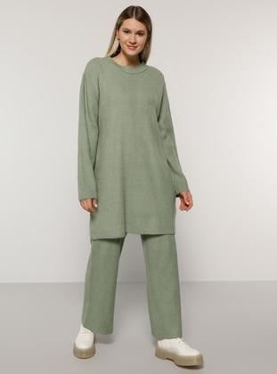 Sea-green - Crew neck - Unlined - Acrylic -  - Plus Size Suit