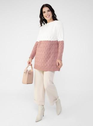 Ecru - Dusty Rose - Acrylic - - Crew neck - Plus Size Knit Tunics
