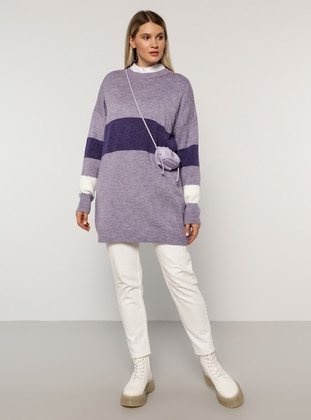 Lilac - Acrylic - Crew neck - Plus Size Knit Tunics