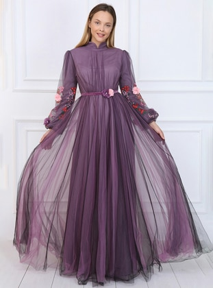 Plum - Floral - Fully Lined - Crew neck - Muslim Evening Dress