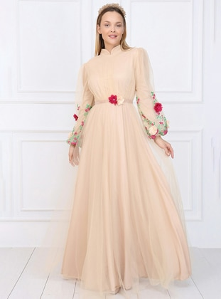Nude - Floral - Fully Lined - Crew neck - Muslim Evening Dress