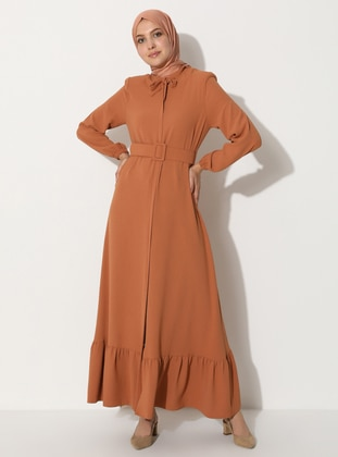 Cinnamon - Unlined - Crew neck - Abaya