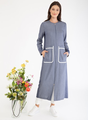 Blue - Stripe - Crew neck - Viscose - Tunic