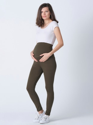 Green -  - Unlined - Maternity Pants
