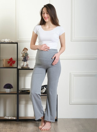 Gray -  - Unlined - Maternity Pants