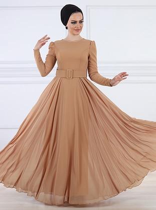 Camel - Fully Lined - Crew neck - Viscose - Muslim Evening Dress