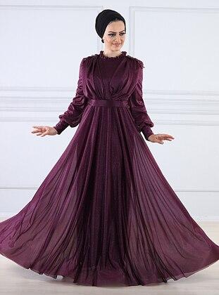 Plum - Fully Lined - Crew neck -  - Viscose - Muslim Evening Dress