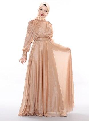 Camel - Fully Lined - Crew neck -  - Viscose - Muslim Evening Dress