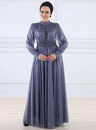 Blue - Fully Lined - Crew neck - Viscose - Muslim Evening Dress